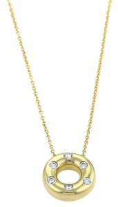 Tiffany & Co. ETOILE Diamond 18k Yellow Gold Platinum Open Circle Pendant Necklace