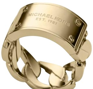 Michael Kors Michael Kors Gold Logo Plaque Curb Chain Ring-Sz 7