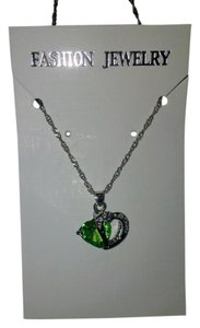 """Other 18"""" Silver Alloy Chain With A Peridot Green Colored Heart Pendant"""
