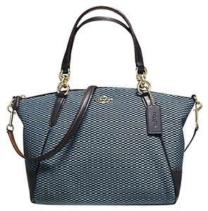 Coach Metallic Blue Hobo Satchel in Milk Navy black