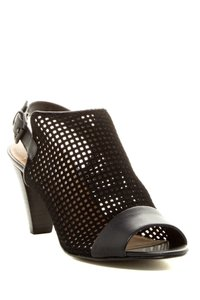 Tahari Chunky Leather Suede Perforated Black Mules