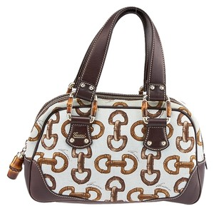 Gucci Bamboo Canvas Satchel in Brown