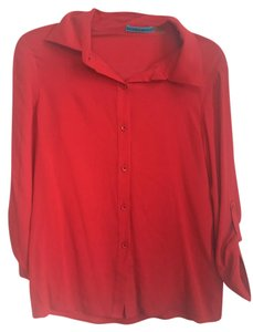 Alice + Olivia Silk Shirt Button Down Shirt Red