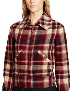 Polo Ralph Lauren Plaid Wool Cotton Leather multi-color Jacket