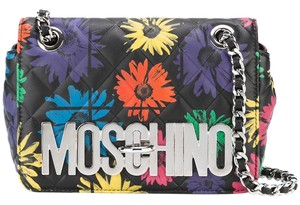 Moschino Floral Quilted Leather Logo Cross Body Bag