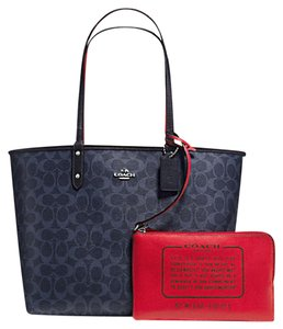 Coach Satchel 36126 36609 Tote in SILVER/DENIM MIDNIGHT