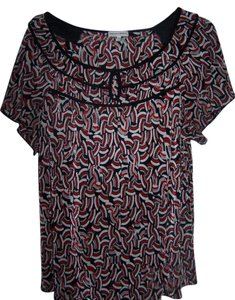 Fashion Bug Summer Top black/red/gray pattern