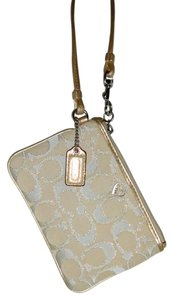 Coach Poppy Metallic Wristlet in Beige and Gold Lurex
