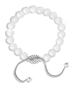 David Yurman White Agat & Sterling Silver Spiritual Bracelet, Adjustable Size
