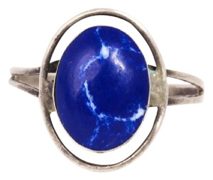 Other Sterling Silver Open Halo Frame With Blue Stone