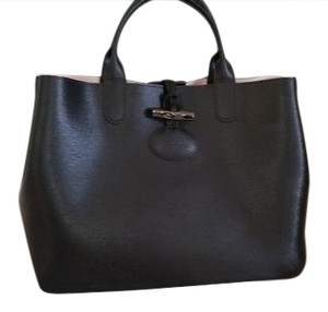 Longchamp Pink Leather Toggle Closure Satchel in Black