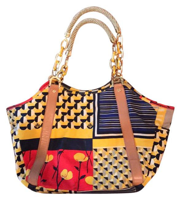 Item - Trimmed Tote/Beach Outside Is Multi - Primarily Navy Gold Red Black and Tan. Inside Is Tan with Multi Trim. Canvas Leather Beach Bag