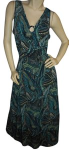 teal, green, black, ivory, yellow Maxi Dress by Dots Paisley Blues/Greens No Iron Comfortable Favorite