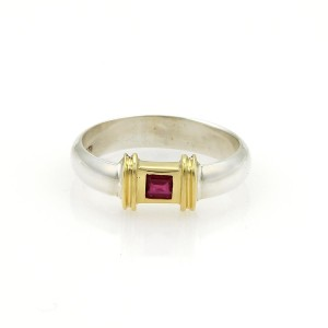 Tiffany & Co. Square Ruby Sterling Silver 18k Yellow Gold Band Ring Size 5