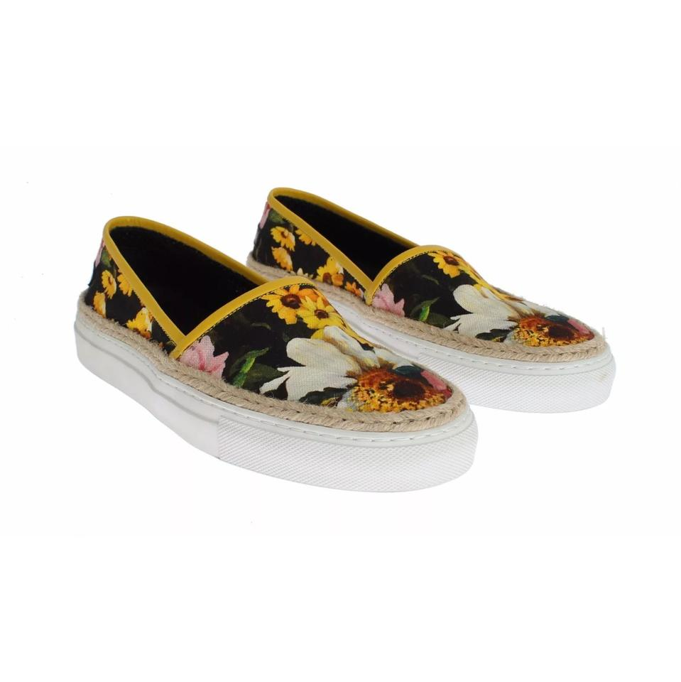 Jute Floral amp;Gabbana and Canvas Dolce Sneakers Slip on Pq1SaSwxB