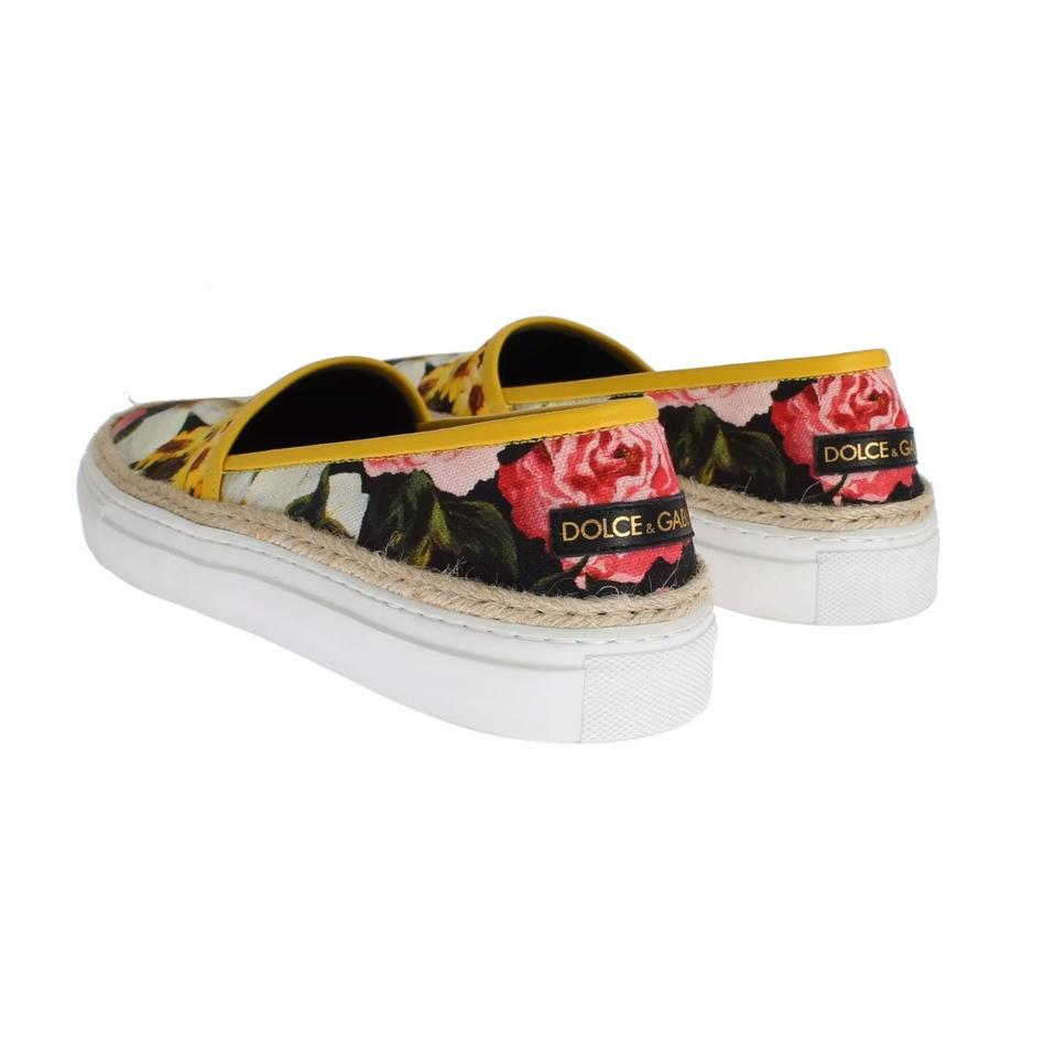 amp;Gabbana Jute Dolce Canvas on and Floral Sneakers Slip gw7f6vF7q