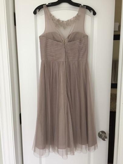 BHLDN Mink Grey Tulle with Polyester Lining Chloe Feminine Bridesmaid/Mob Dress Size 4 (S) Image 2