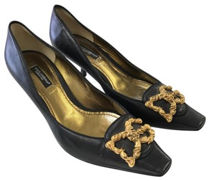 Dolce&Gabbana Classic Leather Gold Hardware Chic Black, Gold Pumps