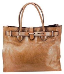 Furla Leather Satchel Silver Hardware Structured Adjustable Tote in Brown