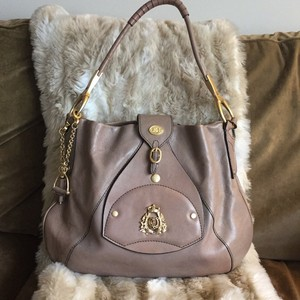 Juicy Couture Classic Timless Leather&brass Shoulder Bag