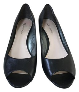 Anne Klein Leather Peep Toe Black Wedges