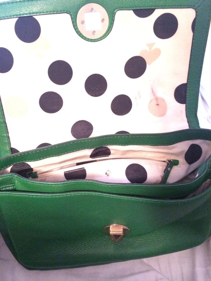 Kate spade kelly green and gold leather with polka dot lining kate spade hardware polka dot lining shoulder bag 12345678910 junglespirit Gallery