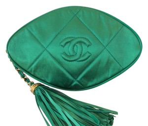 Chanel Solk Rare Vintage Green Clutch