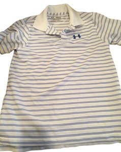 Under Armour Collared Shirt Mesh Polo Short Sleeve Boys T Shirt white and blue