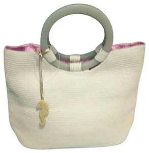 Liz Claiborne Polyester Rayon Floral Satchel in cream