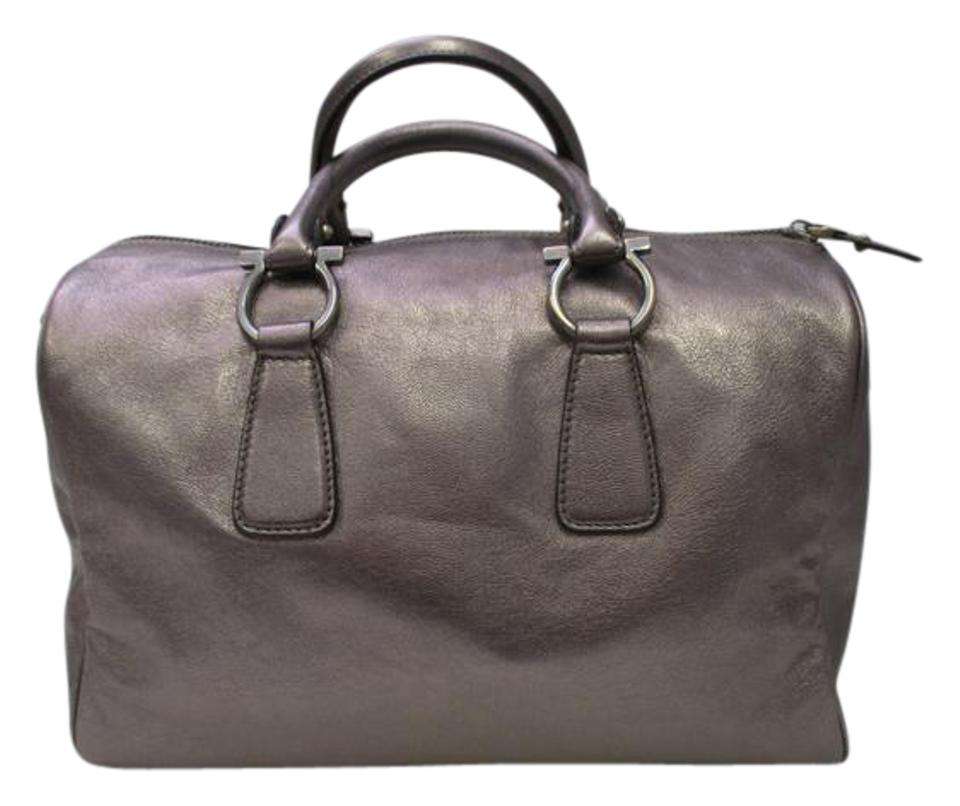 Salvatore Ferragamo Bowler Leather Italy Satchel in Gunmetal Metallic ... 5093d68b91048