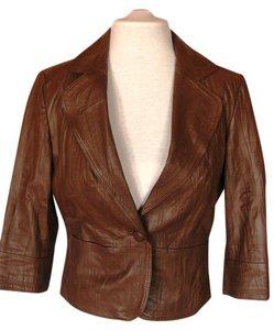 Boston Proper Leather Soft Smooth Fitted 3/4 Length Sleeves Brown Leather Leather Jacket
