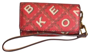 Dooney & Bourke Monogram Classic Leather Wristlet in red and tan