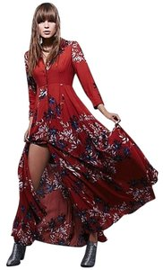 Maxi Dress by Free People Printed Floral Maxi Shirt Duster