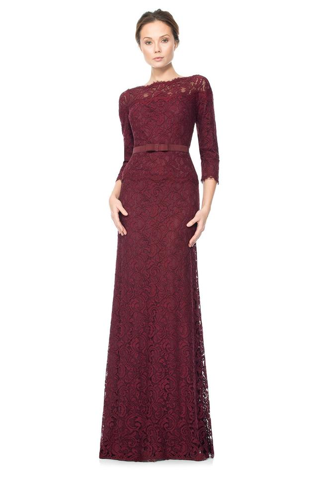 Tadashi Shoji Auburn Red Illusion Lace Long Formal Dress Size 6 (S ...