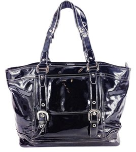 Maxx New York Pvc Patent Buckle Front Pocket Tote in Black