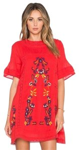 Free People short dress Red Embroidered Perfectly Victorian on Tradesy
