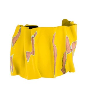 Céline Celine yellow cuff smashed metal