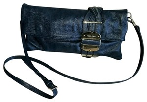 Jimmy Choo Messenger Strap Clutch Blue Leather Cross Body Bag