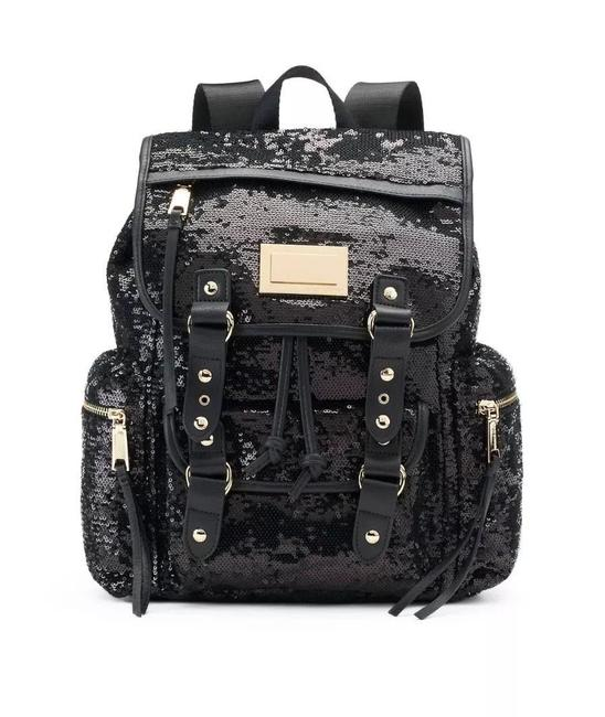 Item - Full Size Black Faux Leather Sequin Polyester Backpack