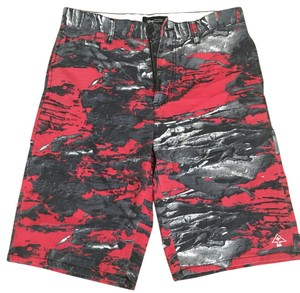 LRG Cargo Shorts Red, Black and Grey Graphic Print
