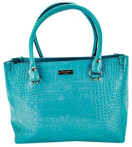 Kate Spade Croc Embossed Leather Patent Tote Satchel in Sky Blue