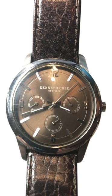 Item - Silver Bezel and Bronze Face. With A Dark Brown Leather Band. Watch