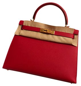 Hermès Satchel in Red/Rough Casaque