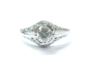 Other Fine Vintage Old European Cut Diamond Solitaire Engagement Ring .55Ct