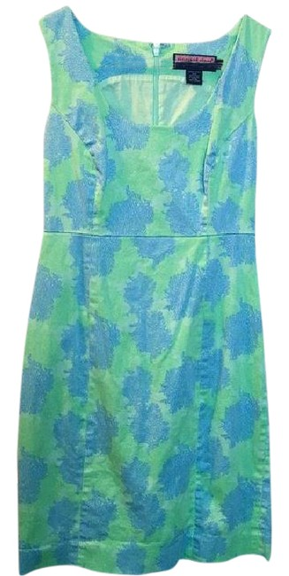 Item - Blue and Green Mid-length Short Casual Dress Size 4 (S)