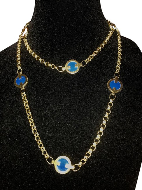 Item - Gold and Blue Paris Enamel Tone Station Necklace