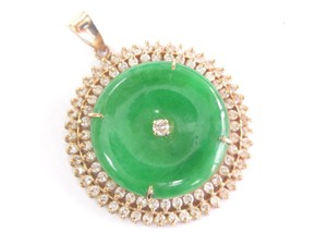 Other 18Kt Jade Diamond Yellow Gold Circular Pendant 5.15Ct