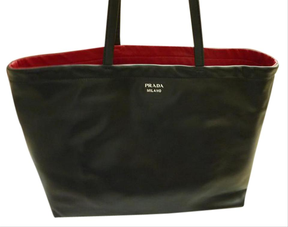 e65f997448531b Prada East-west Reversible Red/Black Nappa Leather Tote - Tradesy