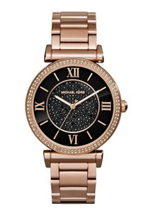 Michael Kors NEW Michael Kors MK3356 Catlin Black Crystal Pave Rose Gold Tone Watch