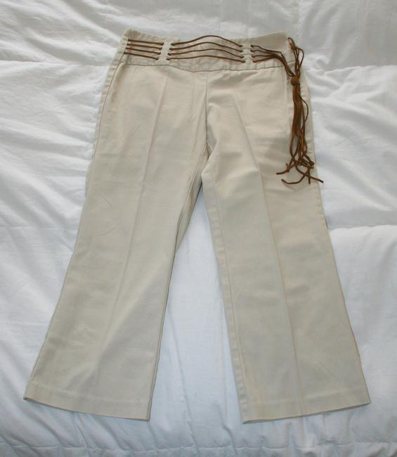 Tracy Evans Ltd. Pants Leather Belt Fringe Capris Beige